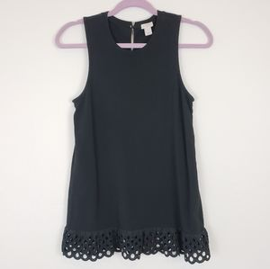 J. Crew black embroidered lace tank top size XS